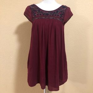 American Eagle S Burgundy Embroidered Dress Boho